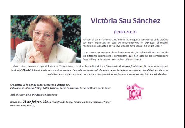 convocatoria para el homenaje a Doña Víctoria SAU