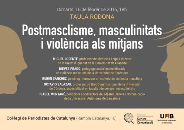 Cartel sobre encuentro postmasclisme, masculinitats i violencia las mitjans
