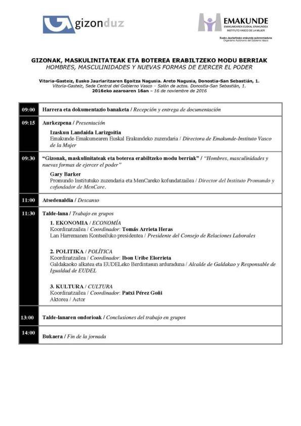 programa Hombres, masculinidades y nuevas formas de ejercer el poder #Vitoria-Gasteizgizonduz